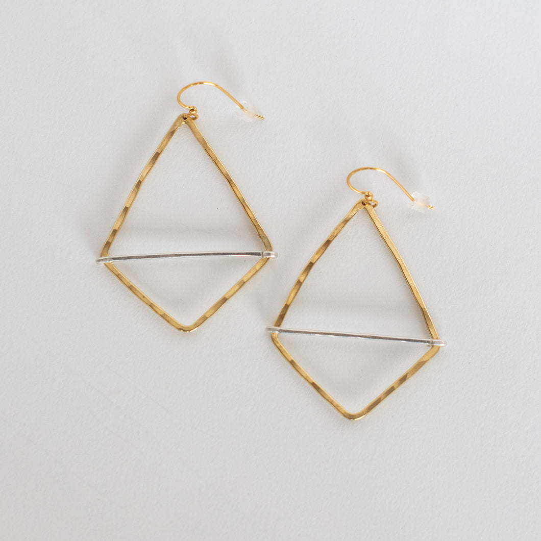 Handcrafted Jewelry-Brass Geometric Hoop Earring with Silver Bar