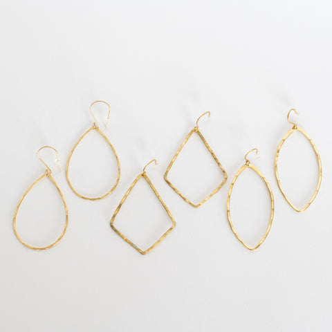 Handcrafted Jewelry-Brass Hoop Earrings