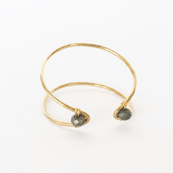 Handcrafted Jewelry-Brass Marquise Cuff Bracelet with Pyrite Accent