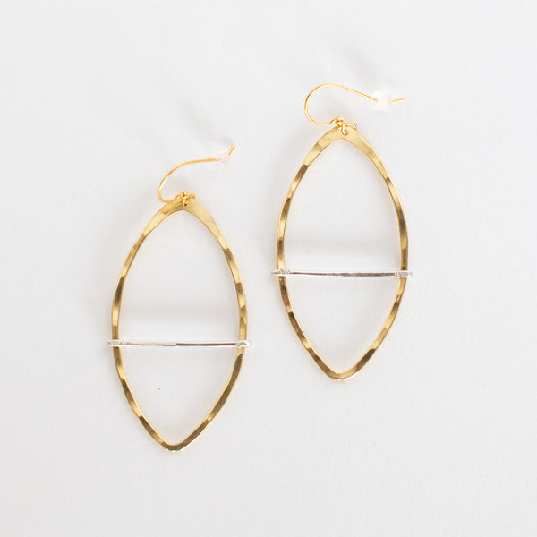 Handcrafted Jewelry-Brass Marquise Hoop Earring with Silver Bar