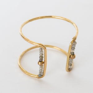 Handcrafted Jewelry-Gold Square Cuff Bracelet with Labradorite/Gold Metal Bead Accent