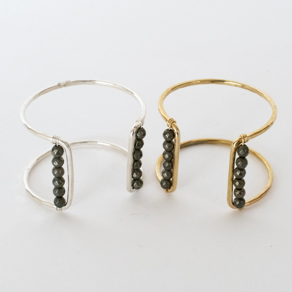 Handmade Jewelry-Square Cuff Bracelet with Pyrite Accent