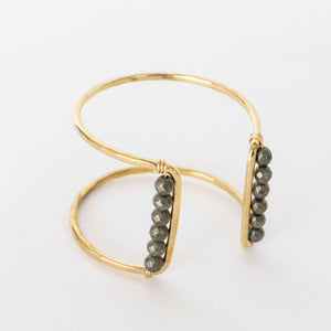 Handcrafted Jewelry-Brass Square Cuff Bracelet with Pyrite Accent