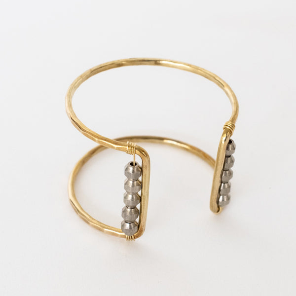 Handcrafted Jewelry-Brass Square Cuff Bracelet with Silver Bead Accent