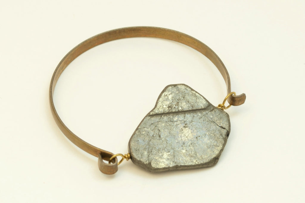 Pyrite Bangle-Brass