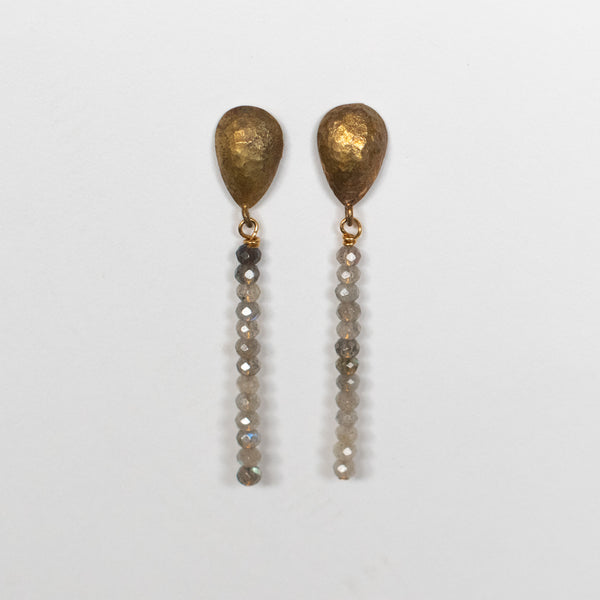 Handcrafted Jewelry-Brass Teardrop Labradorite Bar Earrings