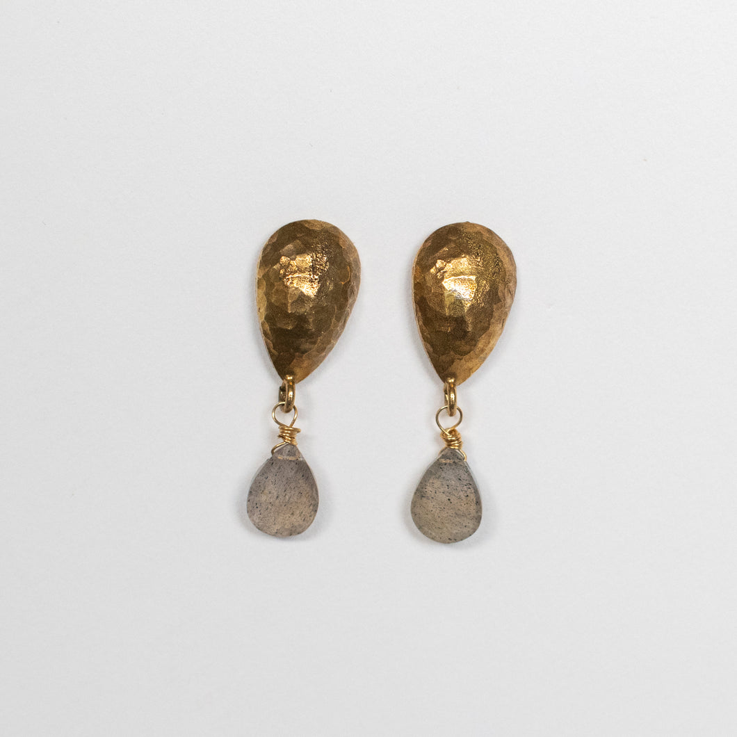 Handcrafted Jewelry-Brass Teardrop Post Earring with Labradorite Accent