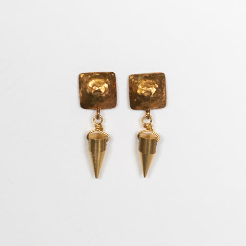 Handcrafted Jewelry-Brass Square Post Earrings with Brass Spike Accent