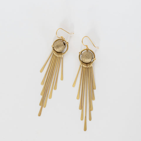 Handcrafted Jewelry-Brass Tassel/Brass Bead Earrings