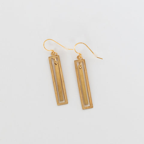 Handcrafted Jewelry-Brass Rectangle Earrings with Brass Bar Accent