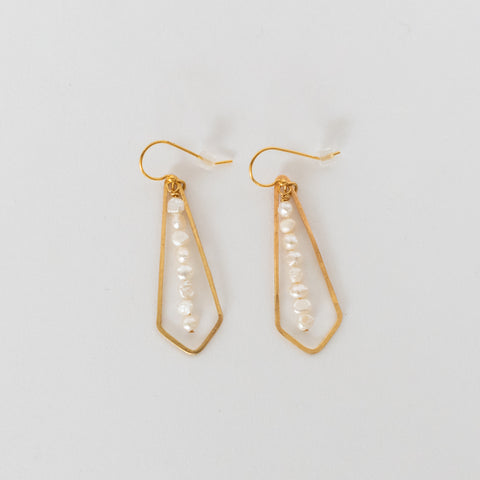 Handcrafted Jewelry-Brass Diamond Pearl Bar Earrings