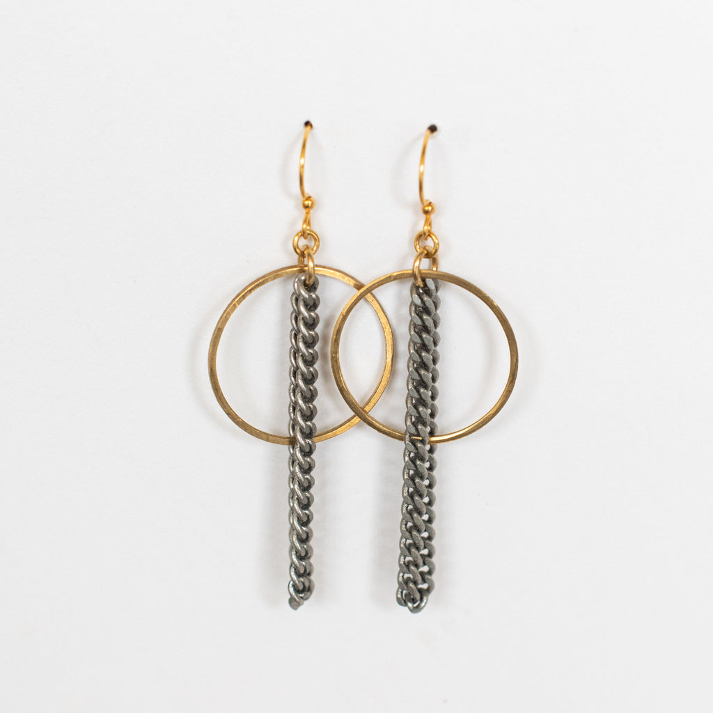 Handcrafted Jewelry-Brass Circle Earring with Silver Chain Accent