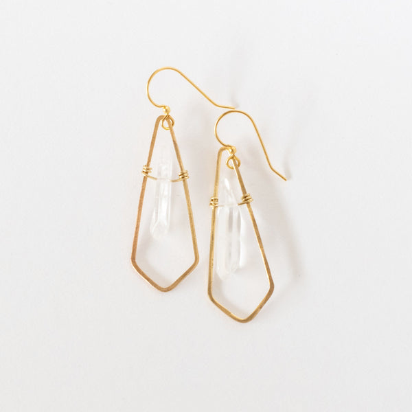 Hand Crafted Jewelry-Brass Diamond Earrings with Quartz Accent