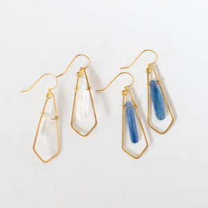 Hand Crafted Jewelry-Brass Diamond Earrings with Kynite or Quartz Accent