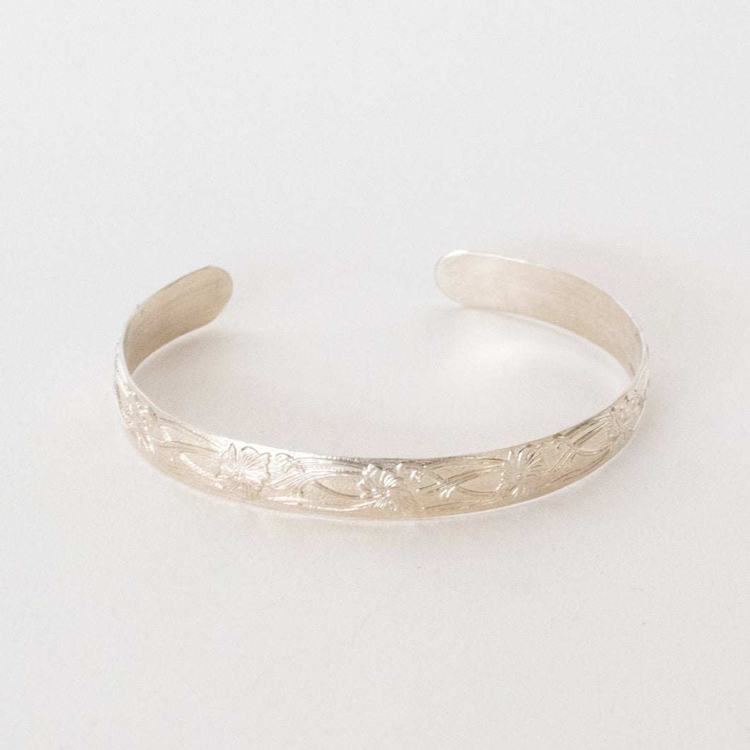 Handcrafted Jewelry-Sterling Silver Petal Textured Bracelet
