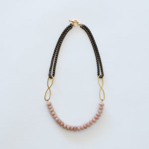 Hand Crafted Jewelry-Pink Moonstone Beaded Necklace with Brass Wheat Chain