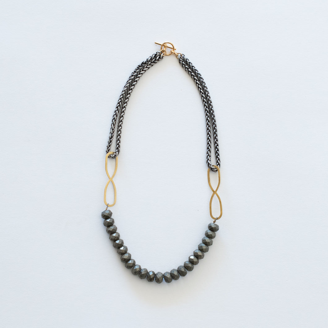 Hand Crafted Jewelry-Pyrite Beaded Necklace with Silver Wheat Chain
