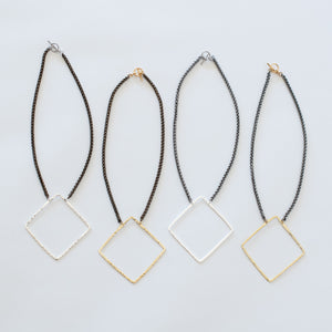 Handcrafted Jewelry-Square Necklaces on Short Chain