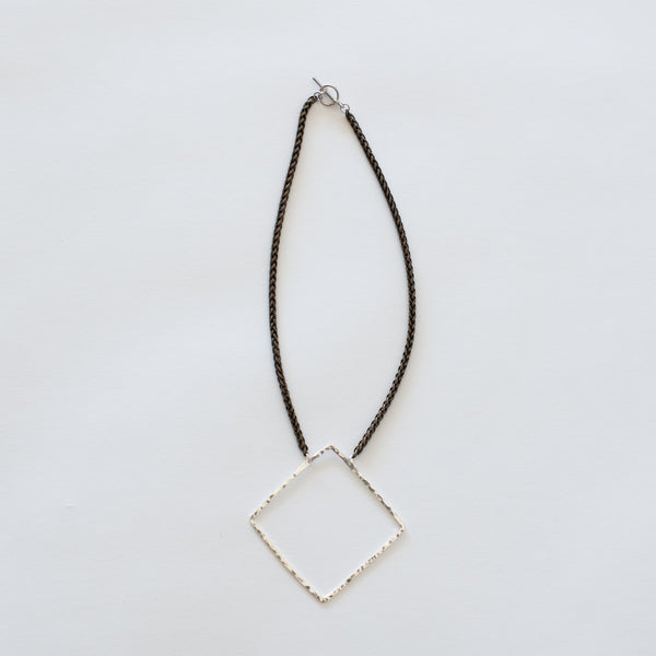 Handcrafted Jewelry-Silver Square Necklace on Brass Wheat Chain