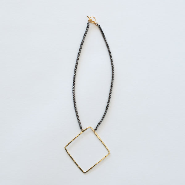 Handcrafted Jewelry-Brass Square Necklace on Silver Wheat Chain