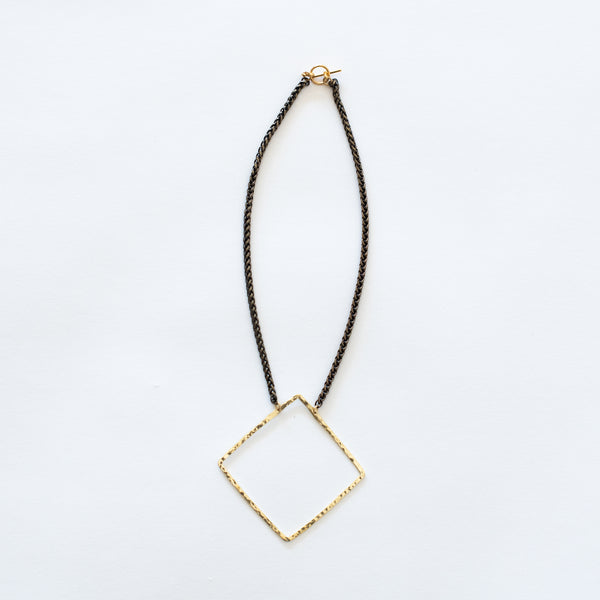 Handcrafted Jewelry-Brass Square Necklace on Brass Wheat Chain