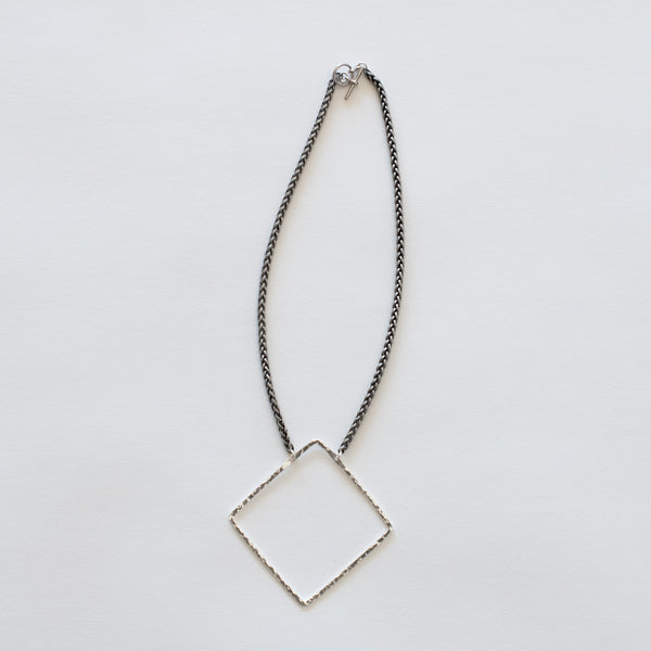 Handcrafted Jewelry-Silver Square Necklace on Silver Wheat Chain
