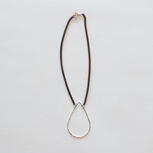 Handcrafted Jewelry-Silver Teardrop Necklace on Brass Wheat Chain