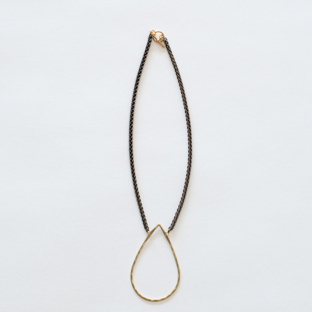 Handcrafted Jewelry-Brass Teardrop Necklace on Brass Wheat Chain