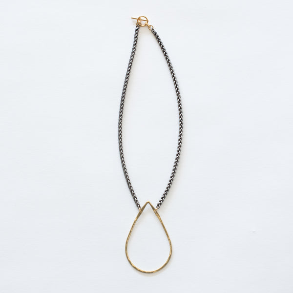 Handcrafted Jewelry-Brass Teardrop Necklace on Silver Wheat Chain