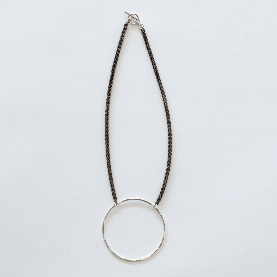 Handcrafted Jewelry-Silver Circle Necklace on Brass Wheat Chain