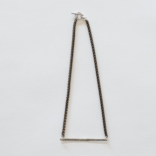 Handcrafted Jewelry-Hammered Silver Bar Necklace/Brass Wheat Chain