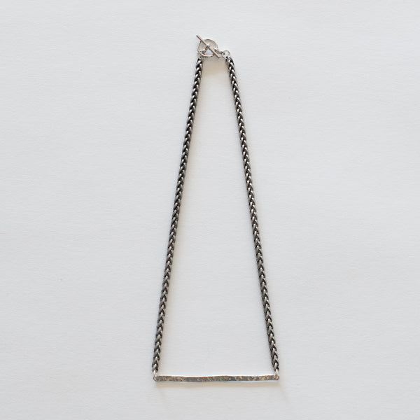 Handcrafted Jewelry-Hammered Silver Bar Necklace/Silver Wheat Chain