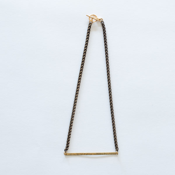 Handcrafted Jewelry-Hammered Brass Bar Necklace/Brass Wheat Chain
