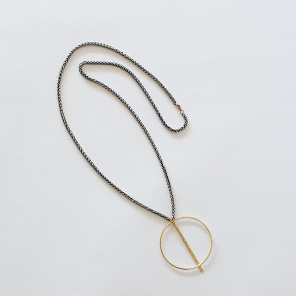 Handcrafted Jewelry-Brass Circle necklace with hammered bar on silver wheat chain