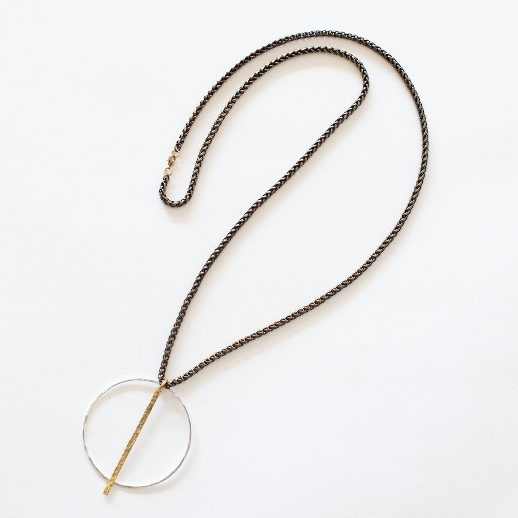 Handcrafted Jewelry-Silver Circle necklace with hammered bar on brass wheat chain