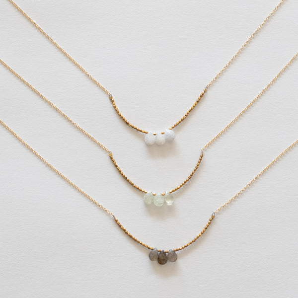Handcrafted Jewelry-Triple Stone Necklaces on Gold-Filled Chain