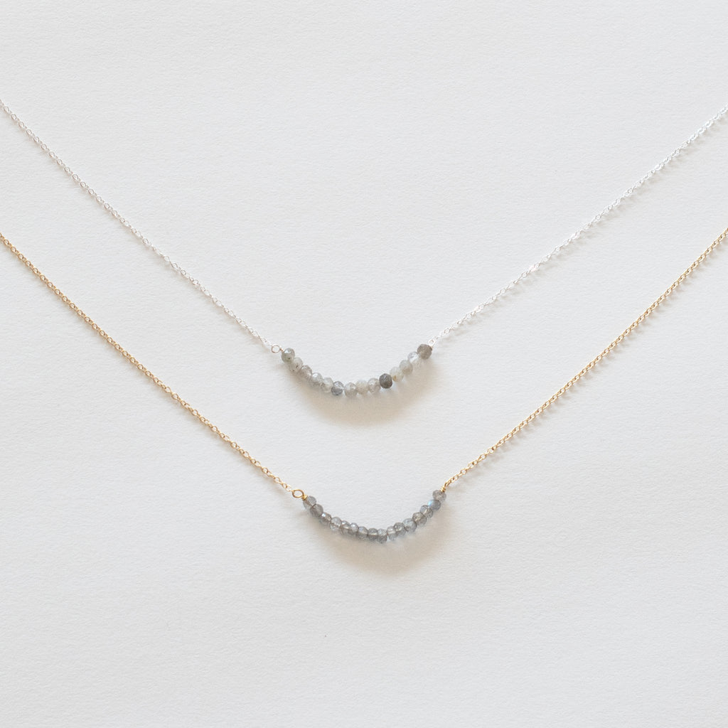 Handcrafted Jewelry-Labradorite Bar Necklace on Gold-filled or Sterling Silver Chain