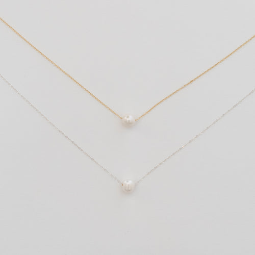 Handcrafted Jewelry-Simple Pearl Necklace on Gold-Filled or Sterling Silver Chain