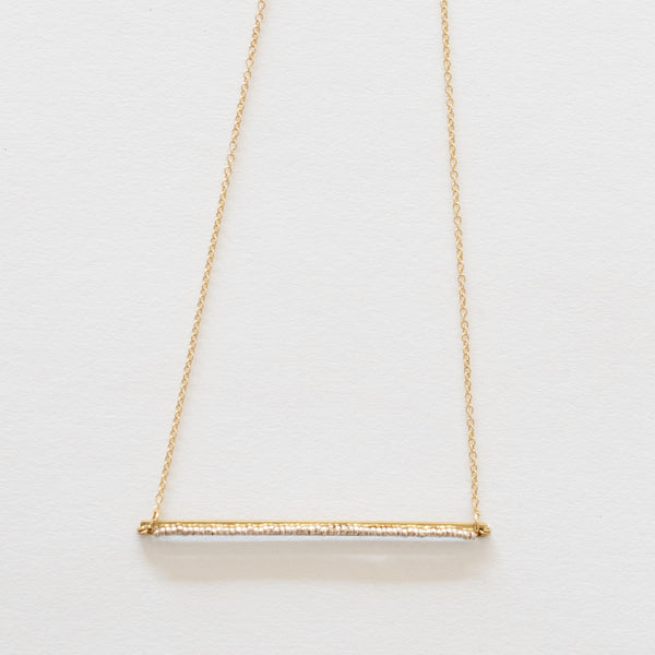 Handcrafted Jewelry-Beaded Brass Bar Necklace on Gold-Filled Chain