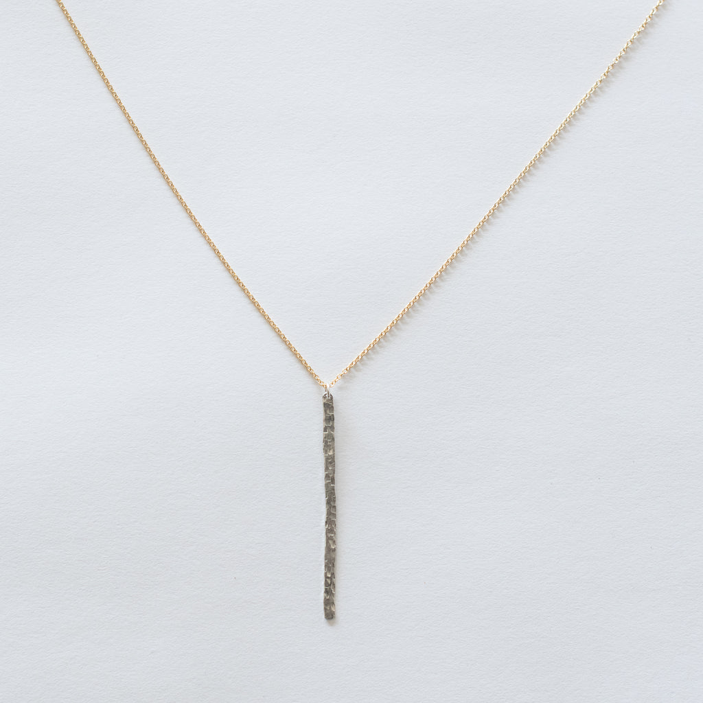 Handcrafted Jewelry-Hammered Silver Bar Necklace on Gold-Filled Chain