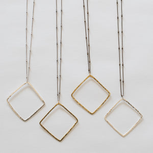 Handcrafted Jewelry-Square Pendant Necklace on Beaded Chain