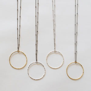 Hand Crafted Jewelry-Circle Necklace on Beaded Chain