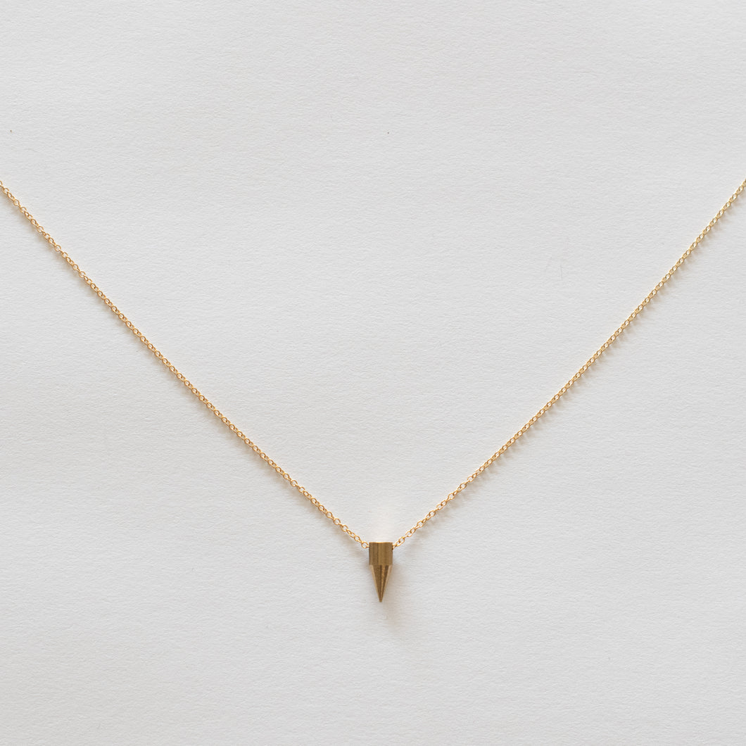 Handcrafted Jewelry-Simple Brass Spike Necklace on Gold-Filled Chain