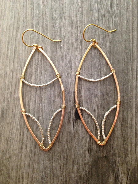 Brass Marquise Hoop-Triple Beaded Silver