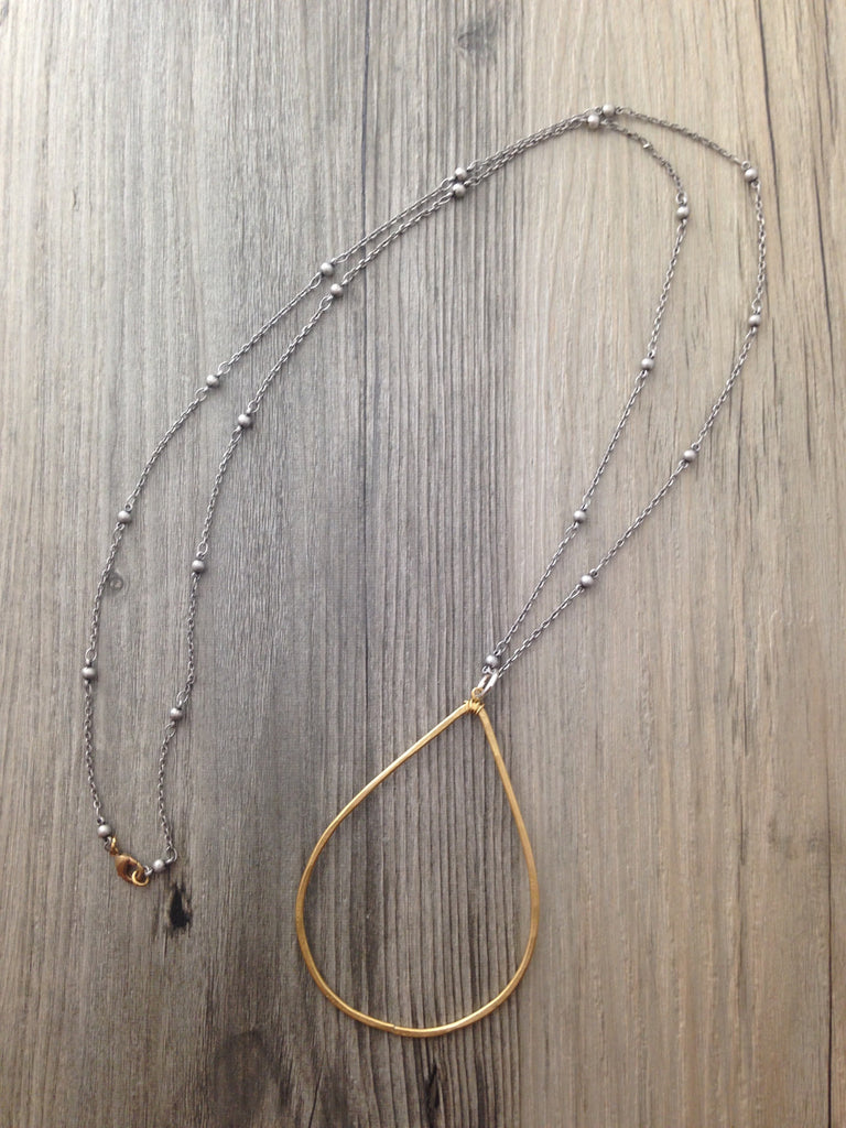 Handcrafted Jewelry-Brass Teardrop Necklace on Silver Beaded Chain