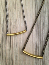 Load image into Gallery viewer, Handcrafted Jewelry-Gold Tube Necklace on Curb Chain