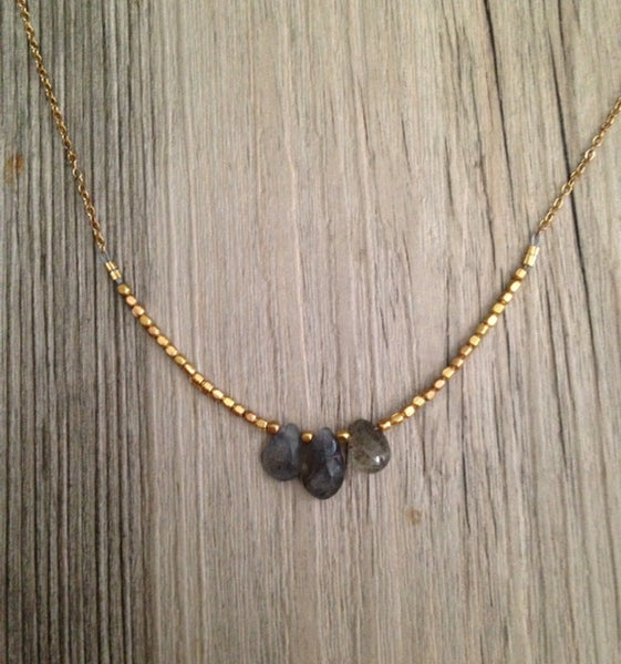 Handcrafted Jewelry-Triple Labradorite Necklace on Gold-Filled Chain