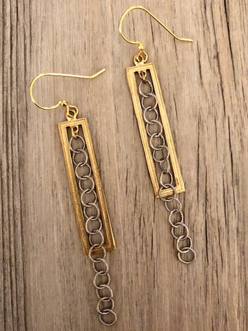Handcrafted Jewelry-Brass Rectangle Earrings with Silver Chain Accent