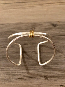 Silver Square Cuff Bracelet with Gold Center Wrap