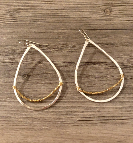 Handcrafted Jewelry-Silver Teardrop Hoop Earring with Gold Bead